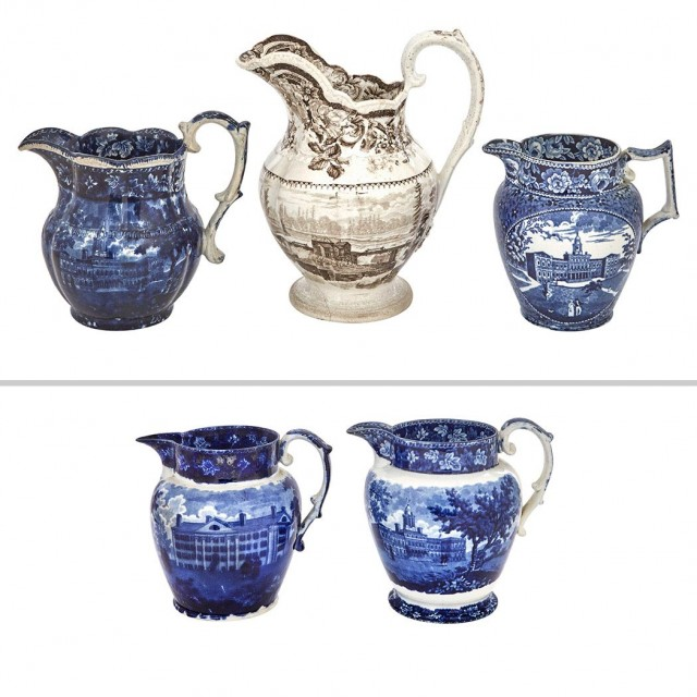 Group of Four Staffordshire Historical Blue Pottery Jugs