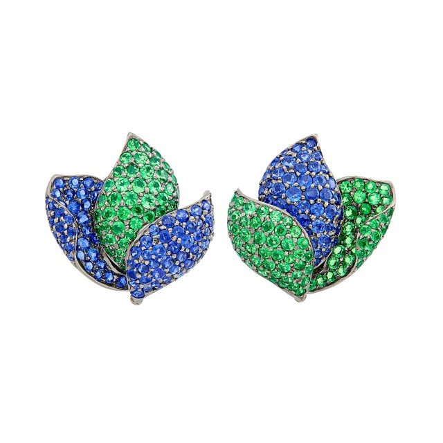 Pair of Blackened Gold, Sapphire and Tsavorite Garnet Leaf Earclips