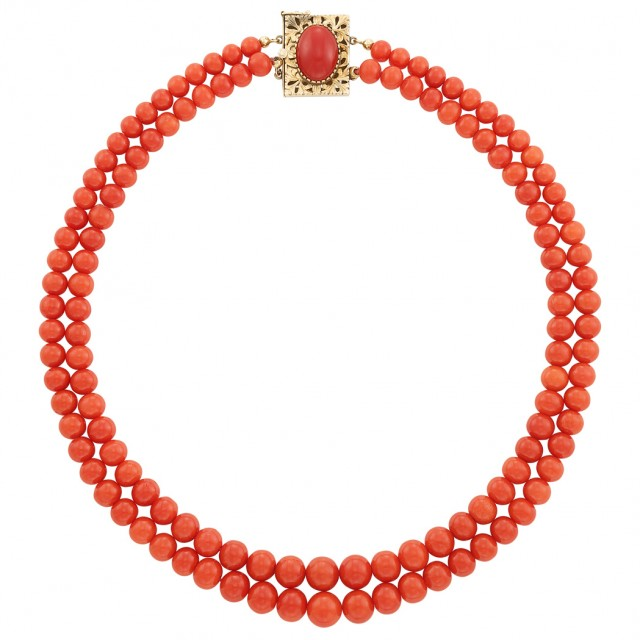 Double Strand Gold and Coral Bead Necklace