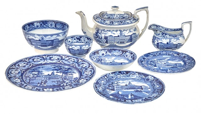 Group of Eight Staffordshire Historical Blue Pottery City Hall New York