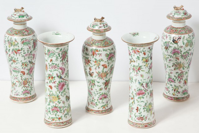 Chinese Export Canton Famille Rose Five-Piece Porcelain Garniture