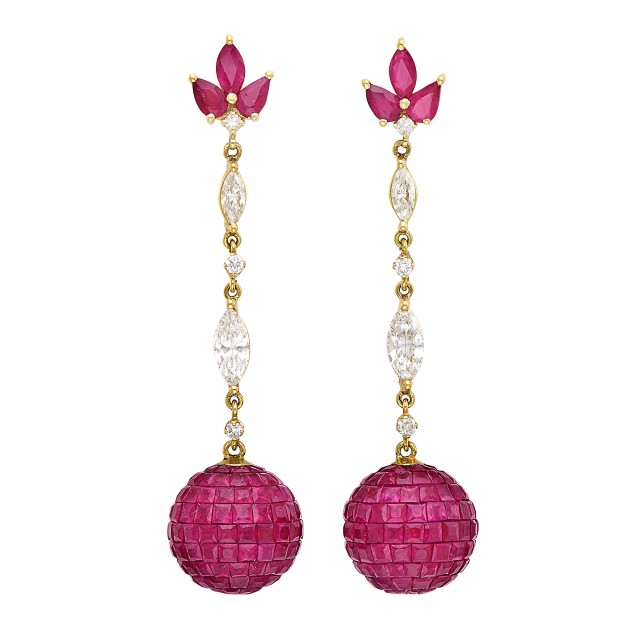 0cc010a9c Pair of Gold, Invisibly-Set Ruby and Diamond Pendant-Earrings ...