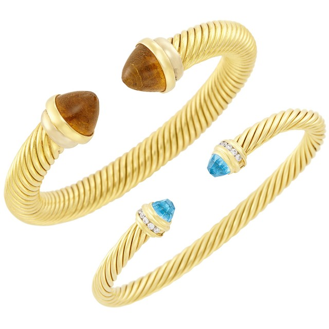 Gold, Blue Topaz and Diamond Bangle Bracelet, David Yurman, and Two-Color Gold and Amber Bangle Bracelet