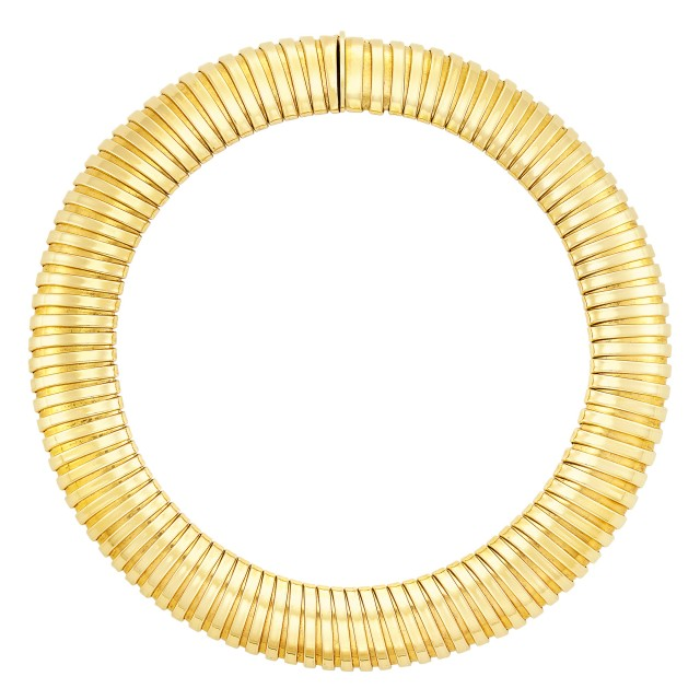 Wide Gold Snake Link Necklace