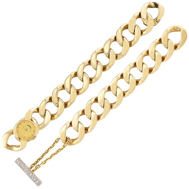 Gold Curb Link Bracelet-Watch, Udall & Ballou, and Bracelet