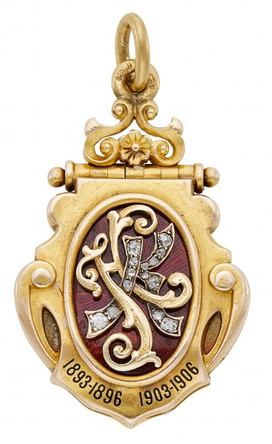 Fabergé Jeweled Two-Color Gold and Enamel Presentation Pendant