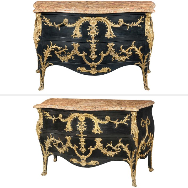 Pair of Louis XV Style Ormolu-Mounted Black-Painted Commodes