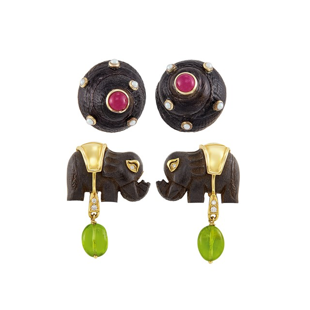 Pair of Black Shell, Cabochon Ruby and Split Pearl Earclips, Maz, and Wood, Peridot and Diamond Elephant Earclips