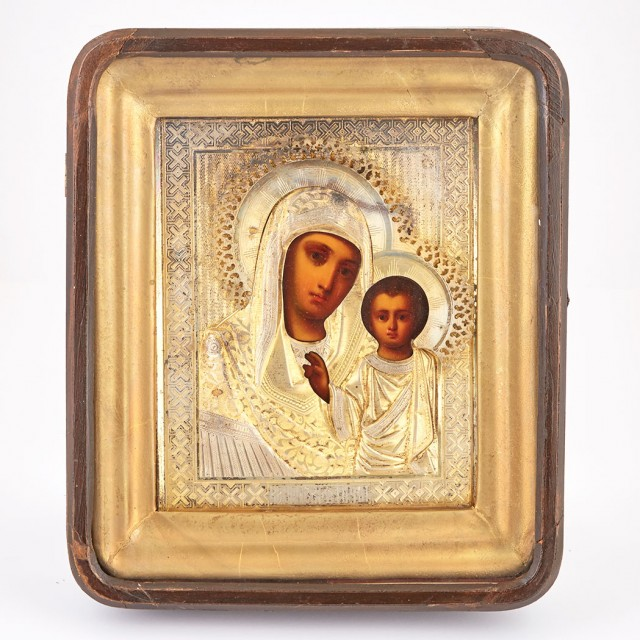 Russian Silver-Gilt Icon of the Kazan Mother of God