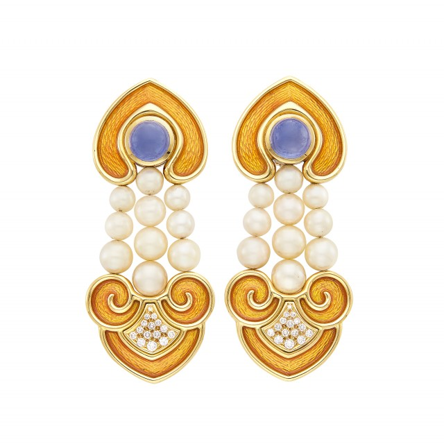 Pair of Gold, Orange Enamel, Cabochon Sapphire, Cultured Pearl and Diamond Pendant-Earclips, de Vroomen