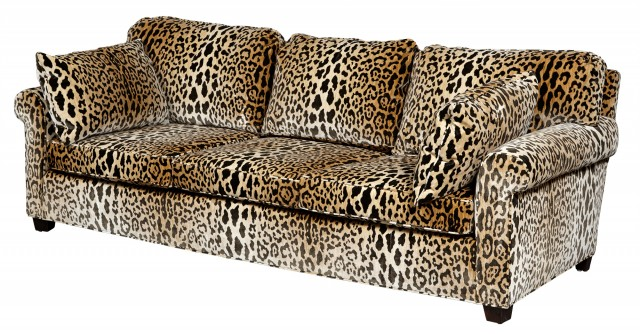 Leopard Print Velvet-Upholstered Three-Cushion Sofa