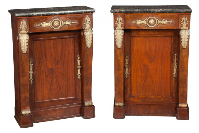 Pair of Empire Style Gilt-Metal-Mounted Mahogany Side Cabinets