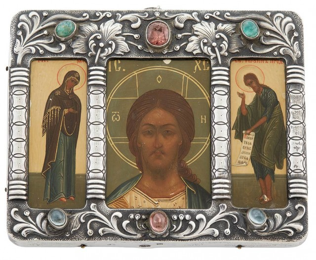 Russian Gem-Set Silver Triptych Icon of the Mother of God, Christ, and John the Baptist
