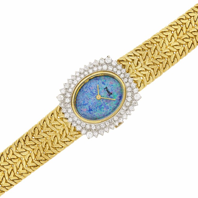 Two-Color Gold, Opal and Diamond Wristwatch, Piaget