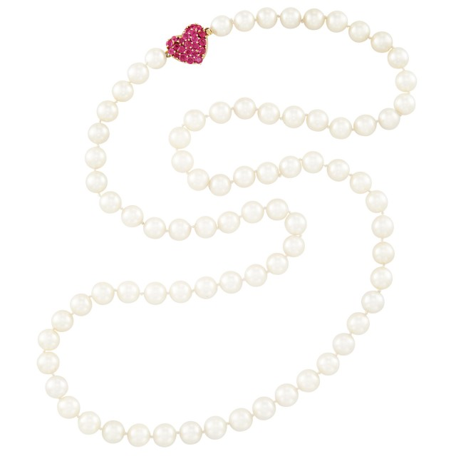 Long Cultured Pearl Necklace with Gold and Ruby Heart Clasp