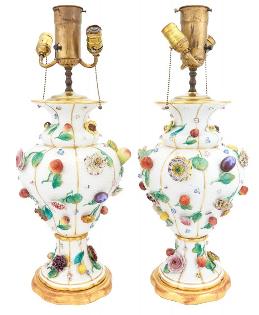 Pair of Continental Fruit and Flower-Encrusted Vases