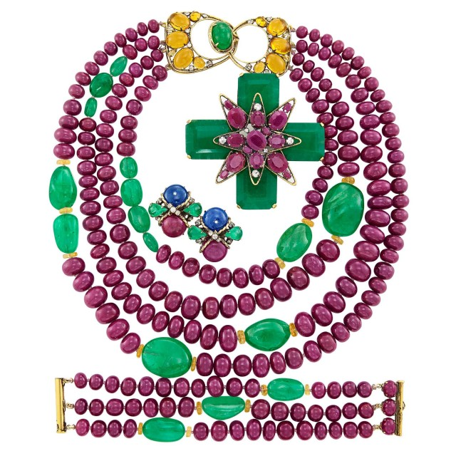 Group of Metal, Ruby, Green Quartz and Glass Bead Jewelry, Iradj Moini