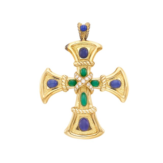 Gold, Lapis, Green Onyx and Diamond Cross Pendant, Van Cleef & Arpels, France