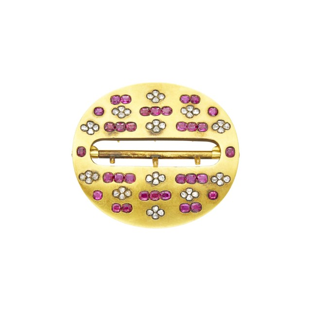 Antique Gold, Ruby and Diamond Belt Buckle, France