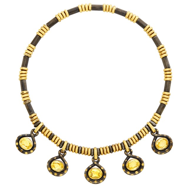 Gold, Stainless Steel and Yellow Sapphire Necklace, Faraone