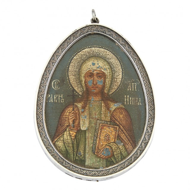 Fabergé Silver Icon of St. Nina