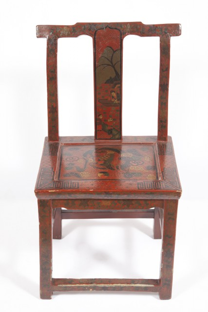 Group of Six Chinese Carved and Lacquered Softwood Chairs