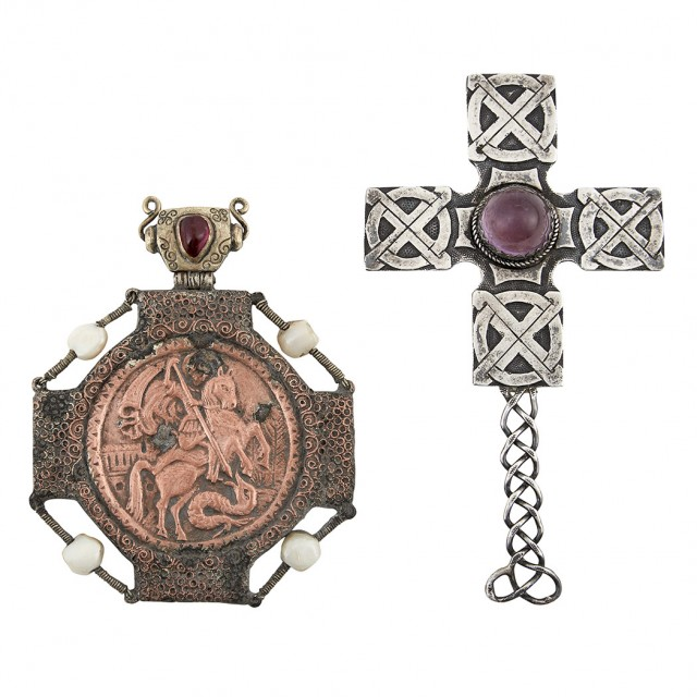 Russian Gem-Set Silver and Copper Icon of St. George