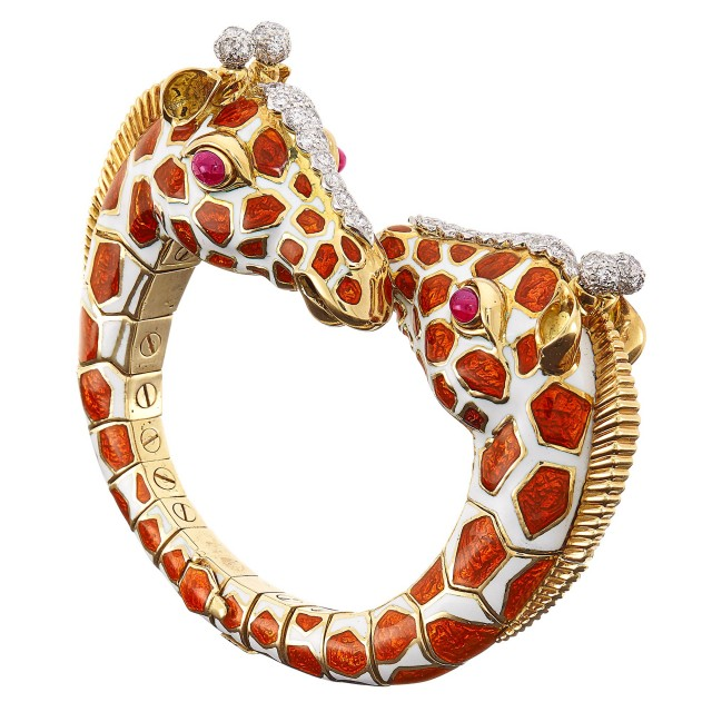 Gold, Platinum, Enamel, Diamond and Cabochon Ruby Double Giraffe Bangle Bracelet, David Webb