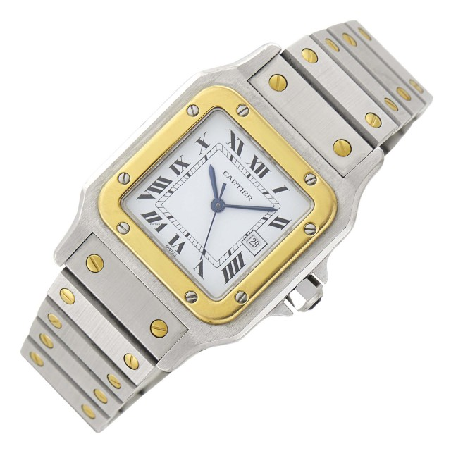 Cartier Gentleman's Stainless Steel and Gold 'Santos' Wristwatch