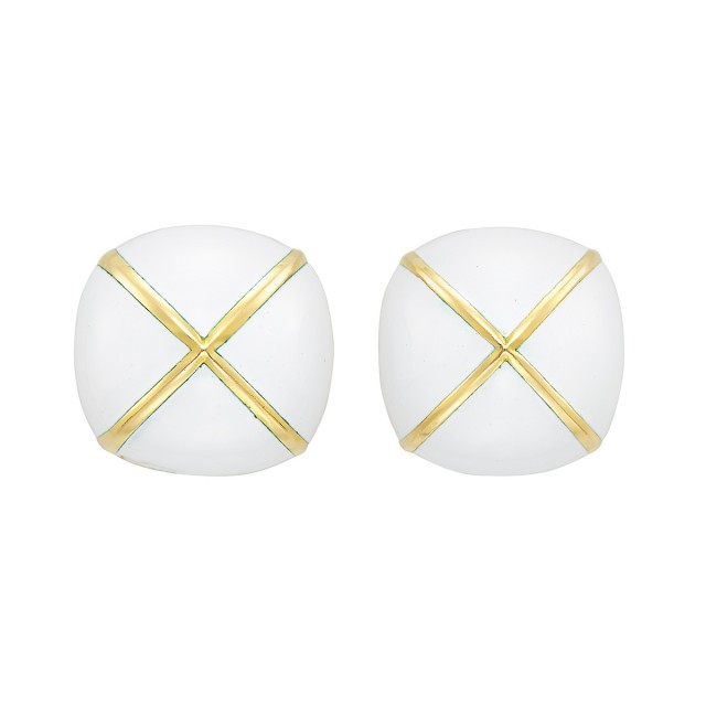 Pair of Gold and White Enamel Bombé Earclips, David Webb
