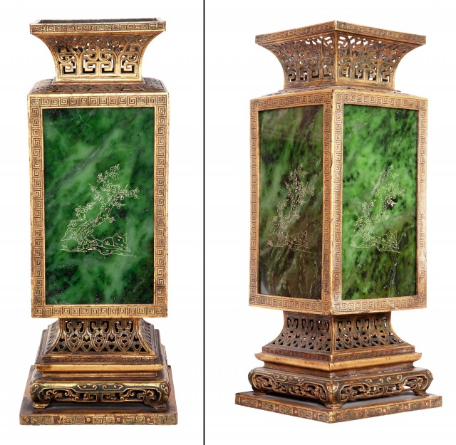 Pair of Chinese Square Form Gilt-Metal Lamps with Hatched Spinach Jade Panels