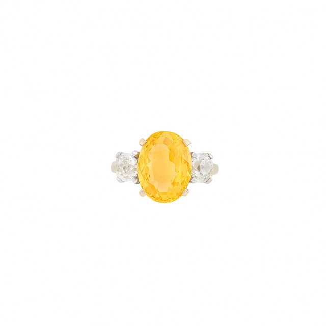 Gold, Orangy Yellow Sapphire and Diamond Ring, Tiffany and Co.