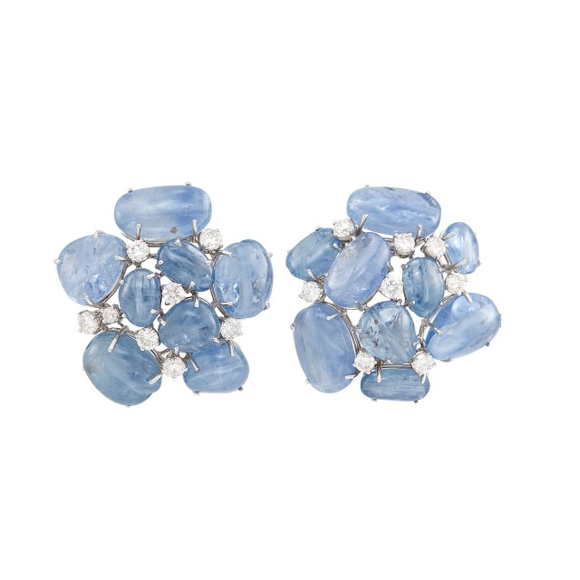 Pair of White Gold, Cabochon Sapphire and Diamond Earrings, Seaman Schepps