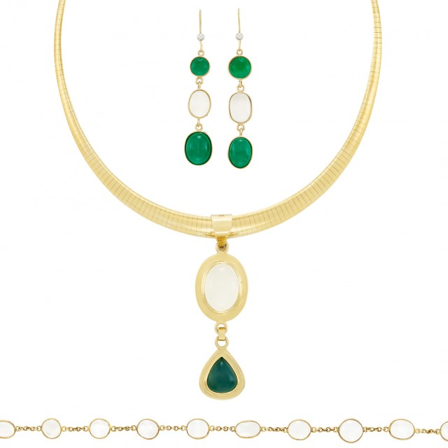 Gold, Indicolite Tourmaline and Moonstone Pendant-Necklace, Bracelet and Pair of Pendant-Earrings