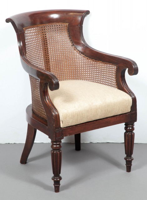 George IV Mahogany and Caned Bergère
