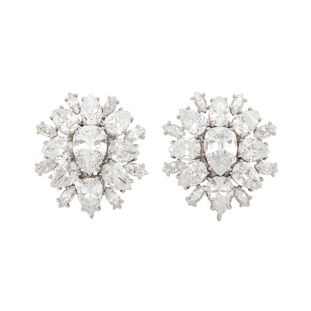 Pair of Platinum and Diamond Cluster Earclips