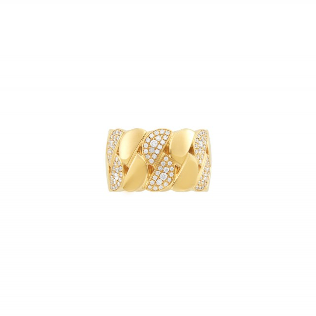 Wide Gold and Diamond Curb Link Band Ring, Cartier
