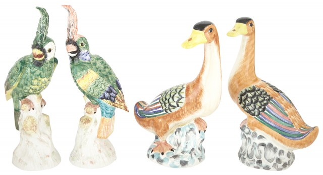 Pair of Mottahedeh Polychrome Pottery Ducks and a Pair of Mottahedeh Polychrome Pottery Cockatoos