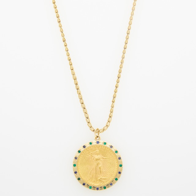 Gold, Gold Coin, Sapphire and Emerald Pendant with Gold Chain
