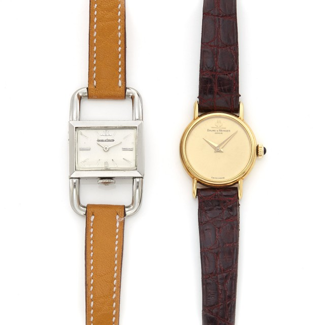 Stainless Steel 'Etrier' Wristwatch, Jaeger LeCoultre, Hermès, Paris, and Gold Wristwatch, Baume and Mercier