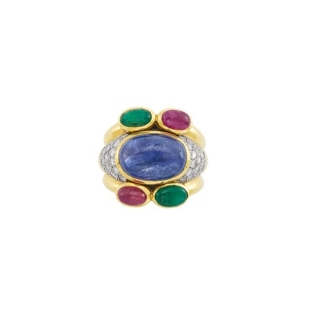 Gold, Platinum, Cabochon Colored Stone and Diamond Ring, David Webb