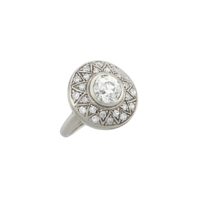 White Gold and Diamond Star Motif Ring