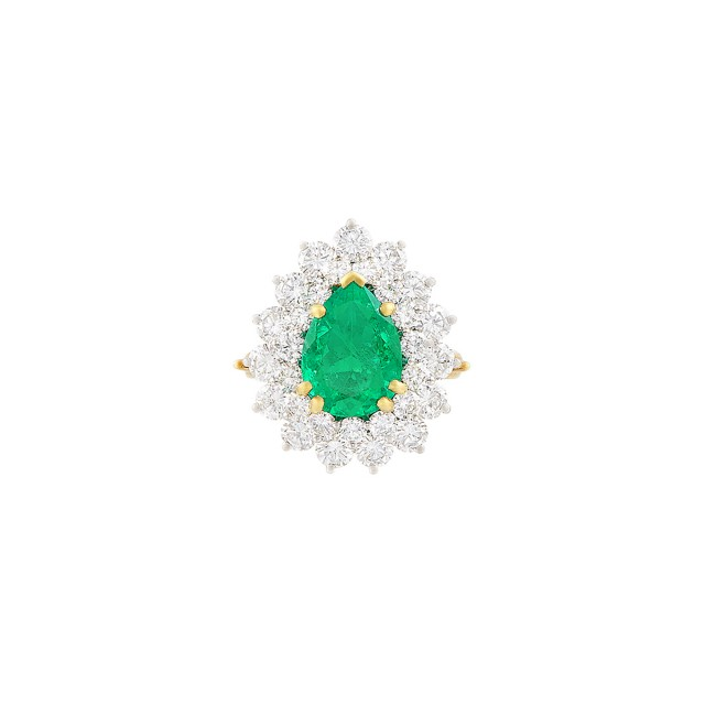 Platinum, Gold, Emerald and Diamond Ring