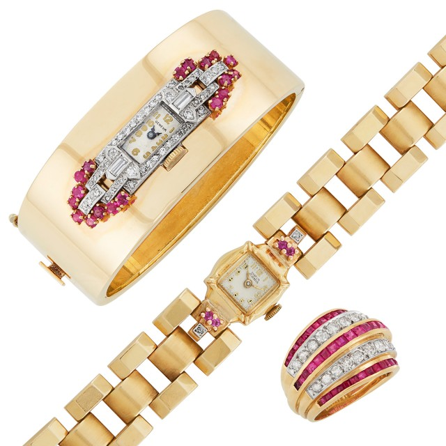 Gold, Platinum, Ruby and Diamond Ring, Bangle Watch and Retro Wristwatch