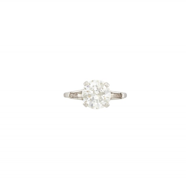 Diamond Engagement Ring center stone about 2.10 cts., Platinum 2 dwt., stones missing, stone damaged