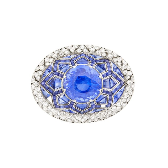 Platinum, Sapphire and Diamond Brooch
