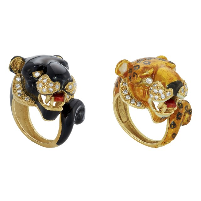 Two Gold, Enamel and Diamond Panther and Leopard Rings
