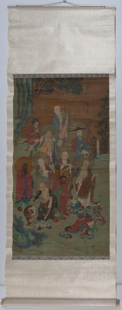 A Large Chinese School Ink and Color Painting of an Assemblage of Luohan