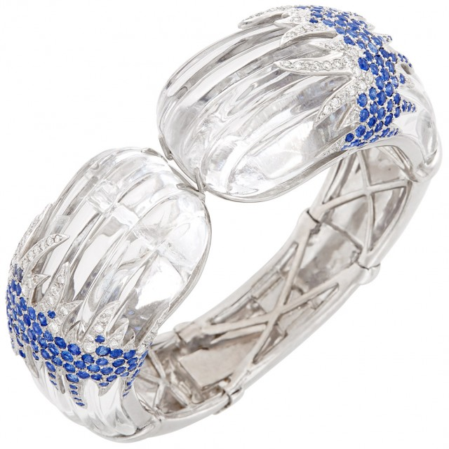 White Gold, Fluted Rock Crystal, Diamond and Sapphire Bangle Bracelet