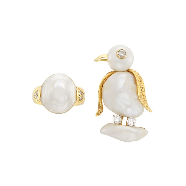 Gold, Platinum, Freshwater Pearl and Diamond Bird Pin, Ruser, and Freshwater Pearl and Diamond Ring